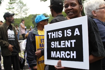 Silent March sign, Photo by Sabelo Narasimhan