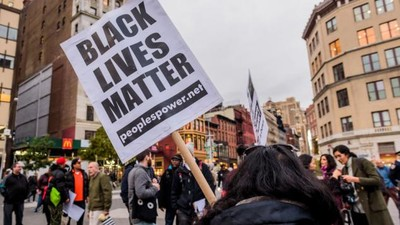 A scene from a Nov. 2017 rally in Union Square, New York City.  GETTY IMAGES