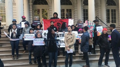 Police reform advocates and City Council members rallied at City Hall to call on the NYPD to comply with the Right to Know Act, which will go into effect on Friday. Photo Credit: Kayla Simas/Kayla Simas