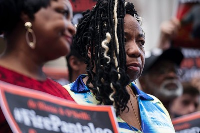 Gwen Carr, Eric Garner's mother, outside One Police Plaza last week.CreditKarsten Moran for The New York Times