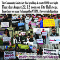 Join us Thursday August 22 for Rally & Press Conference for Community Safety Act